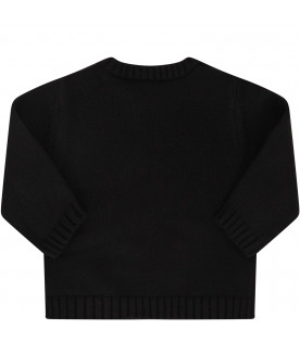 GIVENCHY KIDS Black sweater with white logo and orange star