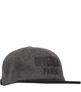 GIVENCHY KIDS Grey and black hat with black logo
