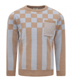 FENDI KIDS Beige and light blue boy sweater with check