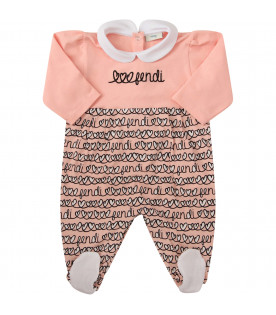 FENDI KIDS Set rosa con logo e cuori all-over