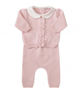 LITTLE BEAR Pink suit with ruffle