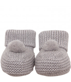 LITTLE BEAR Grey baby bootee
