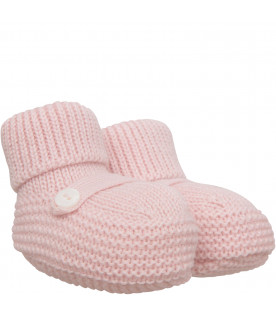 LITTLE BEAR Pink baby bootee