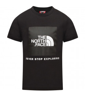 THE NORTH FACE KIDS Black boy t-shirt with white logo