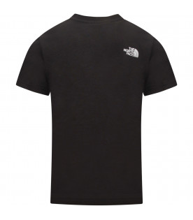 THE NORTH FACE KIDS T-shirt bambino nera con logo bianco
