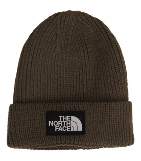 THE NORTH FACE KIDS Military green hat with white logo