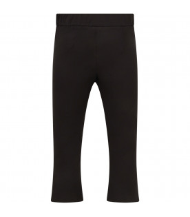 LOREDANA Black girl pants with metallic logo