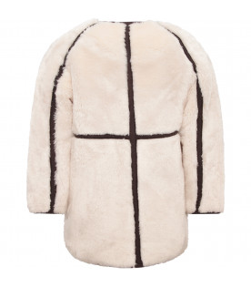 CHLOÉ KIDS Ivory girl overcoat with grey detail