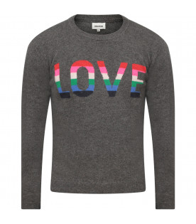 ZADIG & VOLTAIRE KIDS Grey girl sweater with colorful writing