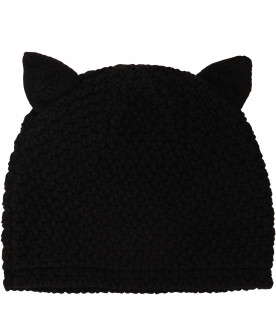 KARL LAGERFELD KIDS Black hat with cat ears