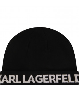 KARL LAGERFELD KIDS Black hat with white logo