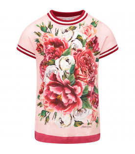 DOLCE & GABBANA KIDS Pink girl maxi T-shirt with peonie