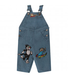 STELLA MCCARTNEY KIDS Light blue denim overall with colorful patches