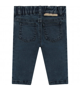 STELLA MCCARTNEY KIDS Blue jeans with colorful patch shaped like hearts