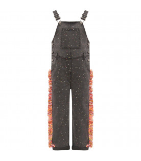 STELLA MCCARTNEY KIDS Grey girl overall with colorful polka dots