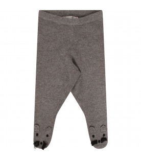 STELLA MCCARTNEY KIDS Collant grigio con baffi