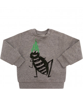 STELLA MCCARTNEY KIDS Grey sweatshirt with colorful cockroach