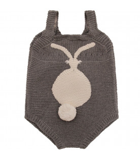STELLA MCCARTNEY KIDS Grey rompers with bunny