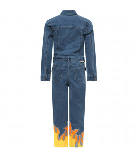 STELLA MCCARTNEY KIDS Blue denim jampsuit with yellow and orange flames