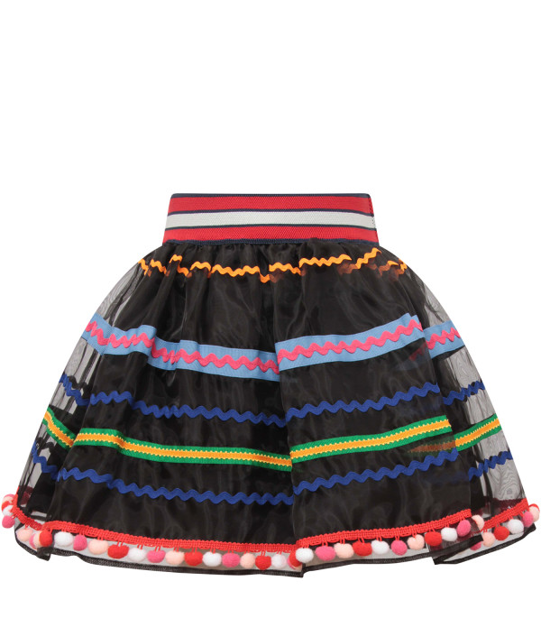 STELLA JEAN KIDS Black girl skirt with colorful detail