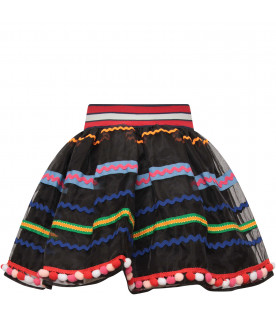 STELLA JEAN KIDS Gonna bambina nera con dettagli colorati