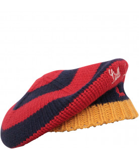 Blue, red and yellow hat