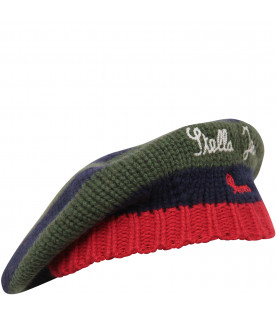 Green, red and blue hat