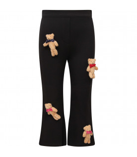 VIVETTA KIDS Black girl pants with brooches