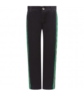 MSGM KIDS Blue boy pants with green and white side stripes