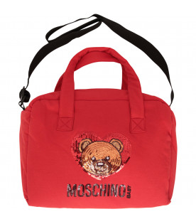 MOSCHINO KIDS Borsa mamma rossa con Teddy Bear in paillettes