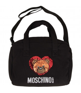 MOSCHINO KIDS Borsa mamma nera con Teddy Bear in paillettes