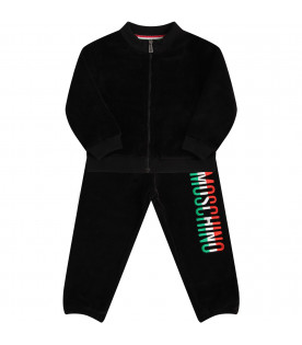 MOSCHINO KIDS Black trancksuit with red, white and green logo