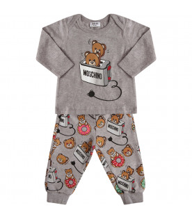 MOSCHINO KIDS Tuta grigia con Teddy Bear colorato a forma di toast