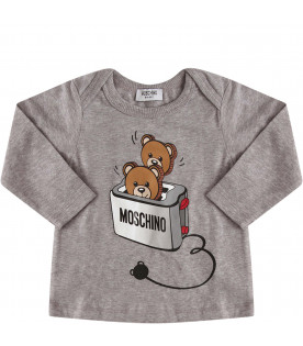 MOSCHINO KIDS Grey suit with colorful Teddy Bear shaped like toast