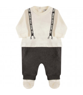 MOSCHINO KIDS Multicolor suit with grey and silver logo