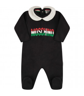 MOSCHINO KIDS Black and white suit with red, white and green logo