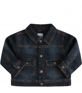 MOSCHINO KIDS Blue denim boy jacket with red, white and green logo