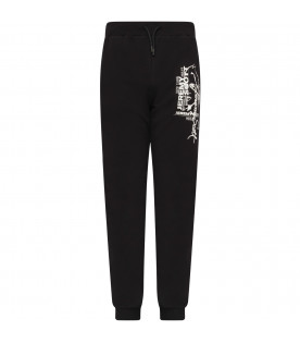 JEREMY SCOTT Black boy sweatpant with white logo