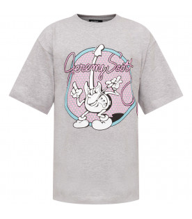 JEREMY SCOTT Grey girl T-shirt with pink logo and guitar