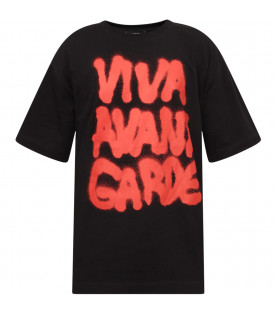 JEREMY SCOTT Black boy maxi T-shirt with red writing