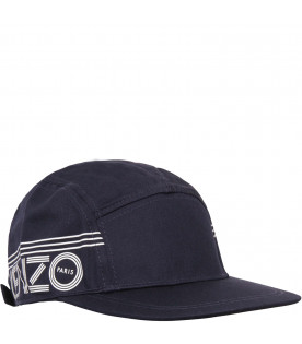 KENZO KIDS Blue hat with white logo