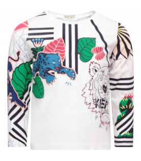 KENZO KIDS White girl T-shirt with colorful tigers