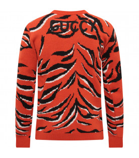 GUCCI KIDS Orange boy sweater wiith colorful tiger