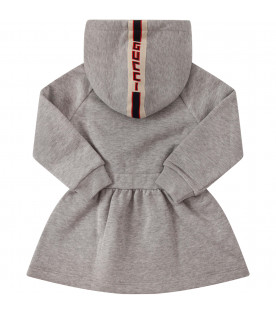 Grey dress with logo on the hood