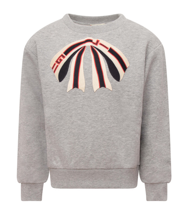 GUCCI KIDS Grey girl sweatshirt with patch shaped like bow