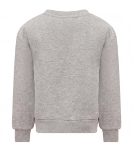 Grey girl sweatshirt with patch shaped like bow