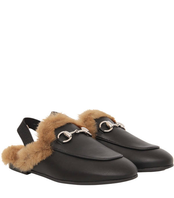 GUCCI KIDS Slipper nera con eco-pelliccia all'interno