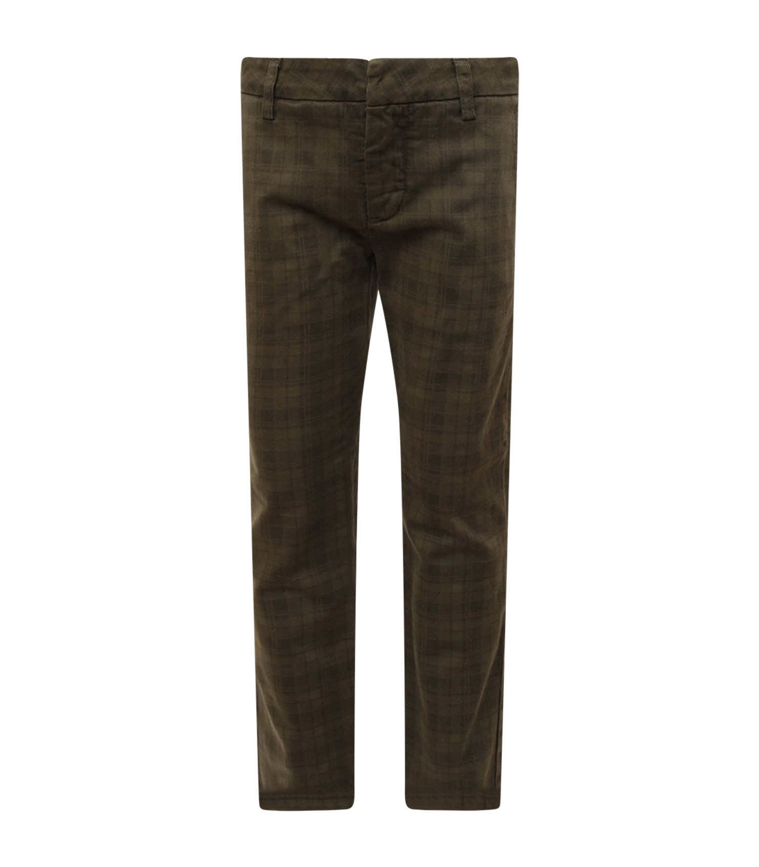 Dondup Kids Military green boy checked pants with iconic D