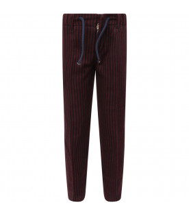 Blue and red boy striped pants with iconic D