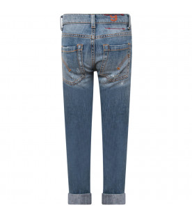 """DONDUP KIDS Jeans bambino """"George"""" celeste con iconica D"""